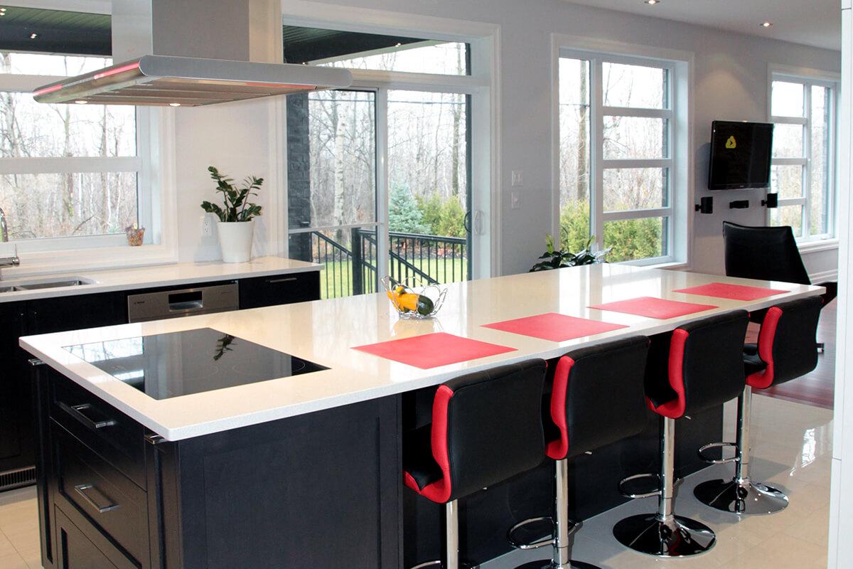 cuisine moderne merisier teint et laqu233 armoires bigo