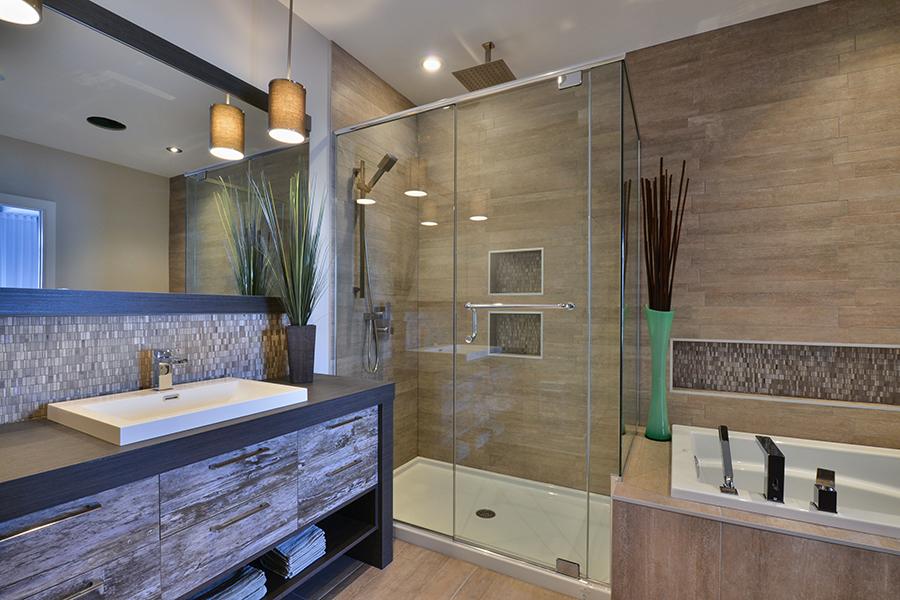 Salle de bains moderne m lamine armoires bigo for Salle de bain 2016